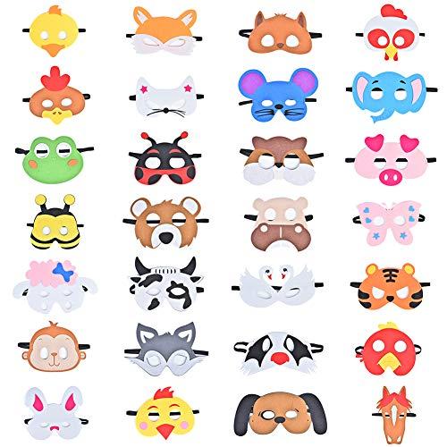 Queta Tiermasken Kinder, 28 Stück Tiermasken Bauernhof-Tiere Filz Tier Masks Maske für Geburtstag Bühnenaufführungen Thema Party