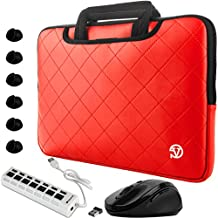 "VanGoddy Slim Diamond Stitched Carryall Laptop Sleeve w/ Mouse, USB Hub, & Cable Organizers for Asus VivoBook / ZenBook / Transformer Book / AsusPro 14""-15.6inch"