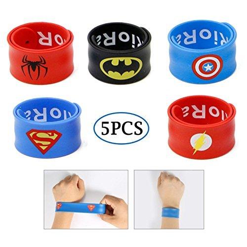RioRand Slap Armbänder Superheld Birthday Party Supplies Toys Kostüm Slap Bands für Kinder Jungen Mädchen (5pcs) (Genial Kostüme Für Jungen)