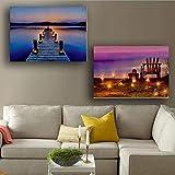 Djkaa See-Und Strand-Szene, Die Led-Wand-Bild Mit Kerzen-Segeltuchanstrich Mit Led-Licht Für Hauptdekoratives Streichen