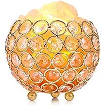 Lámpara de Sal, EECOO Cristal de Sal Natural de Himalaya Lámpara Purificación de Aire para Decoración de Casa, Brillo Regulable y Bombilla Reemplazable con Enchufe UE [Clase de eficiencia energética A+++]