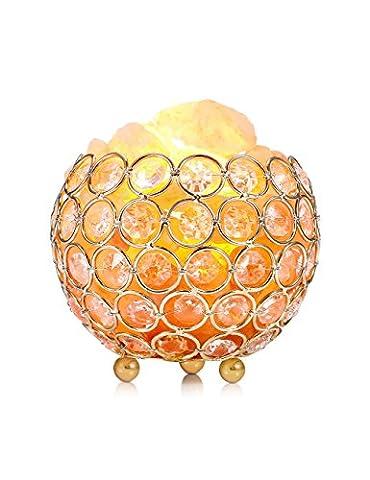 Lampe de Sel, EECOO Lampe à Sel d'Himalaya Naturelle en Cristal de Sel Luminosité Réglable Lampe, Thérapeutiques Naturelles par Ions Négatifs, Unique et Elégant, décoration et d'éclairage il applique à Lampe de Table/ Bureau/ Chevet/ Appliques Murales