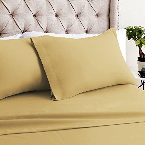 Luxor Bettwäsche Hotelqualität Mirabelle Bambus Komfort 4er Set Tabelle-luxuriösen, umweltfreundlich, knitterfrei-12Farben & 3Größen Erhältlich, gold, Queen size cases (2)