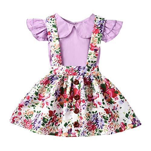 Prinzessin KostüM MäDchen Pwtchenty T-Shirt Tops HosenträGer Rock Set Blumen Druck Kleid Outfits Damen Elegant - Original Barbie Puppe Kostüm