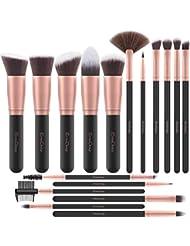 EmaxDesign Pinceaux Maquillage Professionnel 17 pièces Cosmétique Pinceaux Kit pour liquide Poudre crème Fusion de fond de teint Concealer Eye visage Synthétique Pinceaux de maquillage (Or Rose)
