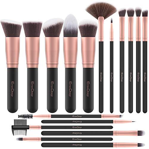 Brochas de Maquillaje EmaxDesign 17 piezas Pinceles de maquillaje professional fibra sintética...