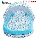 Nagar International Baby Cotton Mattress with Mosquito Net and Bumper Guard (Blue)