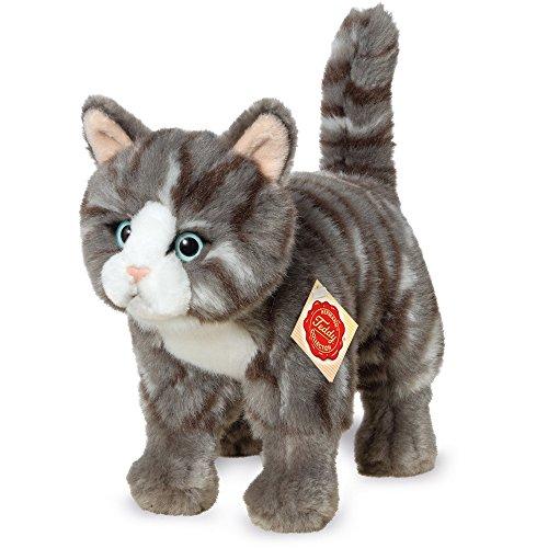Katze stehend Plüsch, grau/getigert, 20 cm ()