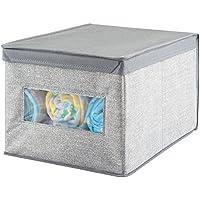 Preisvergleich für mDesign Aufbewahrungsbox mit Deckel – (39x30x25) – vielseitig einsetzbar als Kleiderschrank- oder Wickeltisch-Organizer – große Aufbewahrungskiste aus Stoff – grau