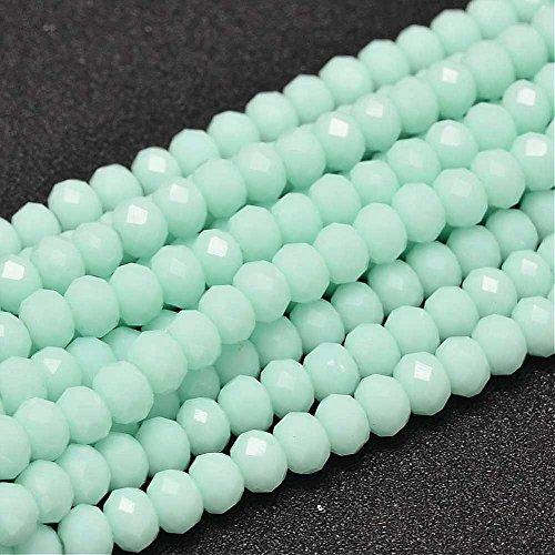 20stk Jade Perlen 6 x 4 mm Mint Grün Rondelle Facettiert Halbedelstein Schmuckperlen für Kette Armband Ring Opak Frosted Farbe G911