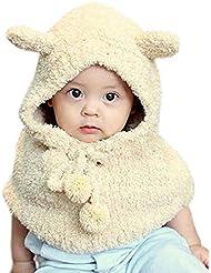 Tongshi Invierno de lana de la felpa del oso Sombreros Niñas bebés Chales capucha capucha Beanie Caps(Beige)