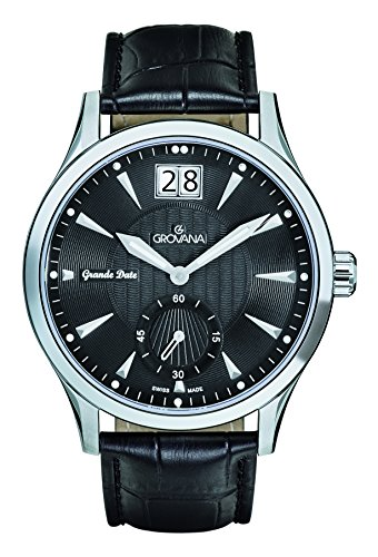 Grovana Men's Quartz Watch with Black Dial Analogue Display and Black Leather Strap 1741.1537