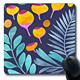 """Tappetini per il mouse Blue Berries Motivo floreale su Abstract Vibrant Bloom Botanico Dark Flower Bud Giallo Oblong Shape Antiscivolo Gaming Mouse Pad Rubber Oblong Mat,Tappetino in gomma 11,8""""x 9,8"""