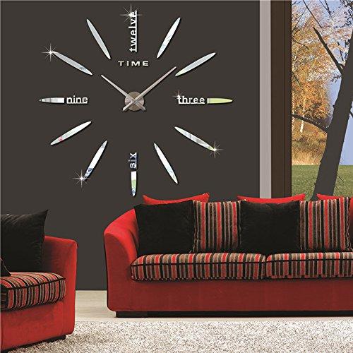 Fas1 grande orologio da parete moderno diy adesivo 3d stickers numeri romani orologio da parete, rimovibile decorazione per casa ufficio, batteria non inclusa (argento)