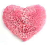 Almohadas de corazón de niña de lana cojín de pelo una almohada de pelo de cordero ( Color : Pink )