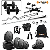 "Kore 20 Kg (PVC/Rubber) Combo 2 Home Gym Kit with one 5 Ft Plain + One 3 Ft Curl + 2 x 14"" Dumbbell Rods with Gym Accessories"