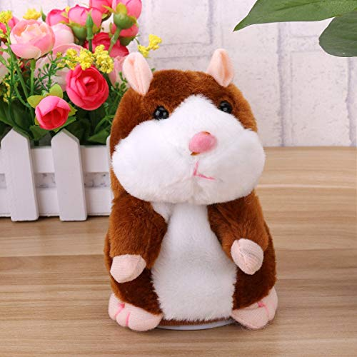 Tdas Talking Hamster Plush Toy Mimicry Doll pet Mouse Electronic Educational Soft Toys, Record Sound for Kids Baby Children Girls Boys (Brown Hamster)