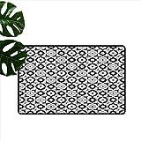 RenteriaDecor Quatrefoil, tapetes de Piso de Cocina, diseño de Azulejos de cerámica Blanco y Negro con Adornos Florales, Margaritas Retro, Alfombrillas para Clima