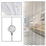 Fransenvorhang mit Quaste, dekorative Türschnur-Perlen-Trennwand von ZAIQUN, glas, weiß, 1m x 2m