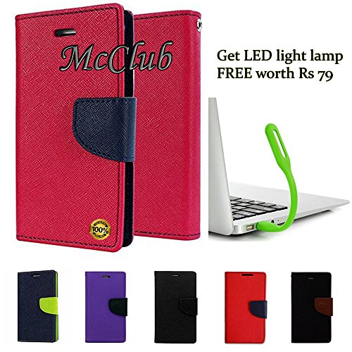 McClub Stylish Luxury Mercury Magnetic Lock (with FREE LED Light Lamp) Diary Wallet Flip Cover For Samsung Galaxy Note 2 N7100  available at amazon for Rs.189
