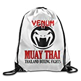 DHNKW AOOPK Unisex Gym Bag Venum Muay Thai Logo Gym Bag Travel Sports Drawstring Backpack