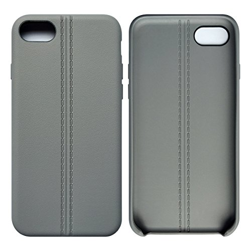 iPhone 7 / iPhone 8 Case Tasche HandyHülle Ultra-dünne Leder-Muster Slim Silikon Case Leicht TPU Ultra Thin Soft Stoßfest Shockproof Staubdicht Schutzhülle Covers Sleeve Leder für iPhone 7 / iPhone 8 Grau