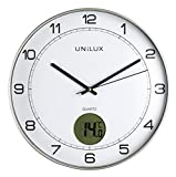 UNILUX 400094592 Tempus Nicht-tickende stille Wanduhr 2 in 1 mit Digitalanzeige für Temperatur grau mit Thermometer 30 cm LCD grad Celsius, Analoge Uhr für Wohnzimmer Küche Büro Kinderzimmer