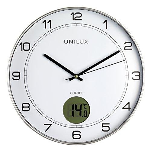 UNILUX 400094592 Tempus Nicht-tickende stille Wanduhr 2 in 1 mit Digitalanzeige für Temperatur grau mit Thermometer 30 cm LCD grad Celsius , Analoge Uhr für Wohnzimmer Küche Büro Kinderzimmer