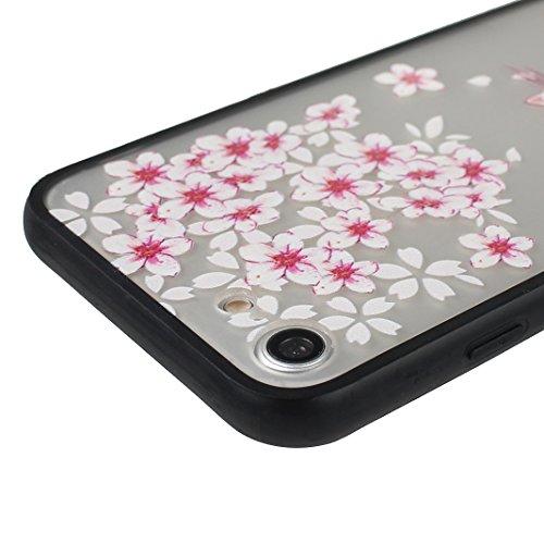 Coque iPhone 7 Housse Souple TPU Transparent en Fleur, Étui iPhone 7, Moon mood® Portable Couverture de Protection pour Apple iPhone 7 4,7 pouces Doux Peau Cas Housse en Silicone Transparent TPU Coque 2PCS -1