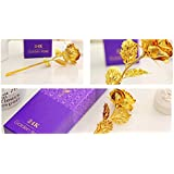 UK Gallery 100% Authentic 24K Gold Rose With Beautiful Gift Box And Carry Bag - Best Gift On Mother's Day / Rose Day, Gold Dipped Real Rose Rose For Girlfriend/golden Rose For Girlfriend/gift/rose Day/boyfriend | Gift For Girlfriend/Boyfriend | Rose Day G