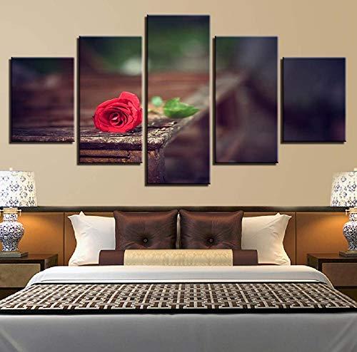 Wiwhy (Kein Rahmen) Hd Druckt Heimtextilien Leinwand Malerei 5 Stücke Rote Rose Blume Wandkunst Wohnzimmer Modulare Bild Kunstwerk Landschaft Poster