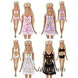 Miunana 4 Set Sexy Schlafanzug Kleider Kleidung Unterwäsche Morgenmantel Kleider für Barbie Puppen