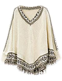 Women Hotportgift Knitwear Tassels Loose Pullover Irregularity Cloak Poncho Cape Coat Blouse (free size, beige)