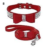 Loveless Land Rhinestone Dog Collar Wildleder Leder Strass DiamantHund Halsband Weich Bogen Krawatte Katze Hündchen Klein Haustier (XS, Rot)