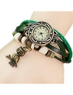 Demarkt Retrostil Damen Frauen Armbanduhr Armreif Uhr Eule Anhänger Damenarmbanduhr Spangenuhr Quarzuhren