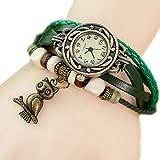 Demarkt Retrostil Damen Frauen Armbanduhr Armreif Uhr Eule Anhänger Damenarmbanduhr Spangenuhr Quarzuhren (Grün)