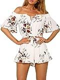 Simplee Apparel Damen Sommer Jumpsuit Elegant Blumen Floral Shulterfrei Klied Playsuit Chiffon Overall Romper mit Rüschen Weiß