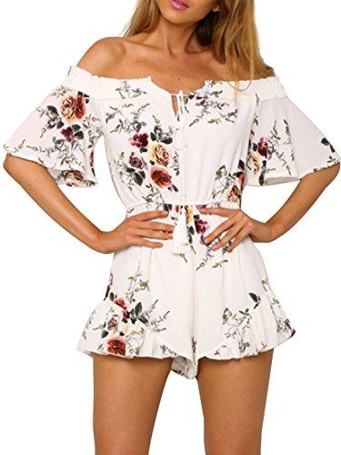 Simplee Apparel Damen Sommer Jumpsuit Elegant Blumen Floral Shulterfrei Klied Playsuit Chiffon Overall Romper mit Rüschen Weiß (Chiffon Jumpsuit)