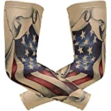 Wamika Arm Sleeve Men Women Vintage Patriotic 3D American Flag UV Protection Cooling Long Sports Compression Cover Arms Tattoo Sleeves Perfect Baseball Football Basketball Running - 1 Pair(S)