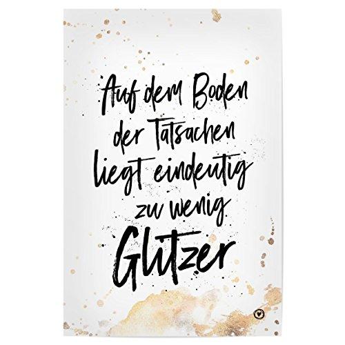 artboxONE Poster Schwarzweiß Zu wenig Glitzer Hochwertiger Design Kunstdruck – Bild Schwarzweiß von m.Belle