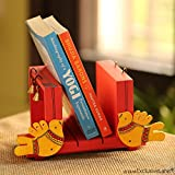 #10: ExclusiveLane 'Chirping Birds' Book End Handmade in Wood - Bookends Stand Wooden Book Rack Stand Case Book End Holder Book Shelf Home Book Table Organizer for Wardrobe Display