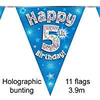 Happy 5th Birthday Blue Holographic Foil Party Bunting 3.9m Long 11 Flags