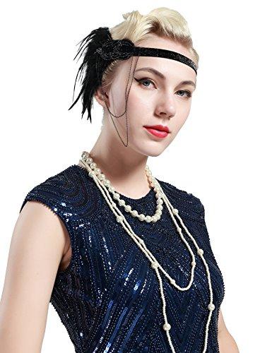 BABEYOND Damen 1920s Stirnband mit Feder 20er Jahre Stil Flapper Haarband Inspiriert von Great Gatsby Damen Kostüm Accessoires (Schwarz) - 3