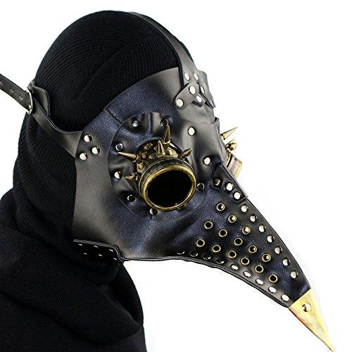 Metall Schwarz Halloween Props Steampunk Kostüm Schnabelmaske Karneval Fasching mit langer Nase für Karneval Fasching (Lange Venezianische Kostüm Maske Nase)