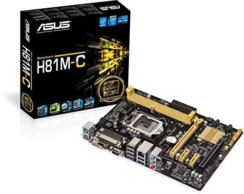 Asus H81M-C Mainboard Sockel LGA 1150 (micro-ATX, Intel H81, 2x DDR3 Speicher, 2x SATA III, VGA, DVI-D, 2x USB 3.0)