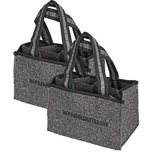 2 Stück Filz Herrentasche Bottlebag Herrenhandtasche, Filztasche, Flaschentasche,Flaschenkorb Flaschenträger auch als Geschenk Verpackung (2)