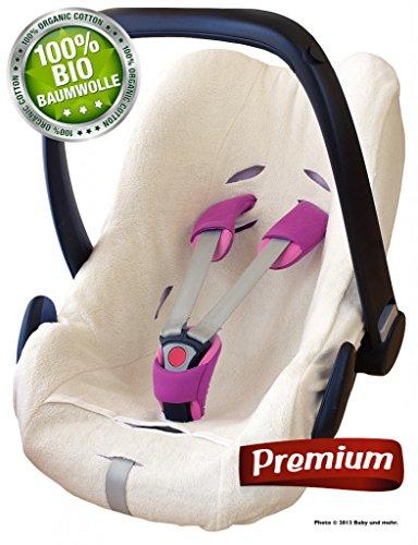 Preisvergleich Produktbild ByBUM - Schonbezug,  Sommerbezug,  Universalbezug für Babyschale PREMIUM aus gebürsteter 100% BIO-Frottee Baumwolle,  passend universal für Babyschale,  Autositz,  z.B. Maxi-Cosi; Farbe ECRU; NEUHEIT