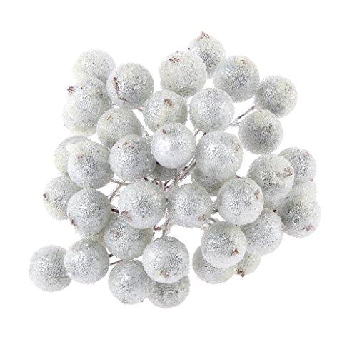 200pz Mini Natale Frutta Smerigliato Bacca Fiore Agrifoglio Artificiale Decorazioni Albero Casa - Argento