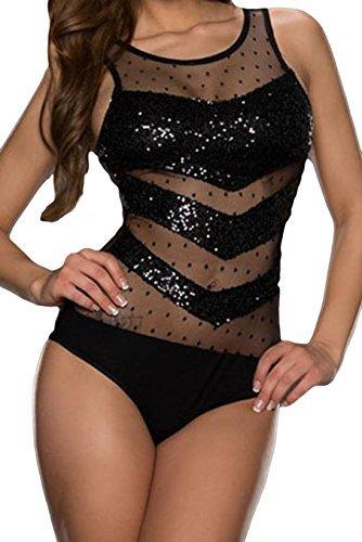 Neue Damen Schwarz Pailletten dot Spitze Teddy Monokini Dessous Gymnastikanzug Pole Dance Nachtwäsche Größe L UK 14 (Dots Dessous)