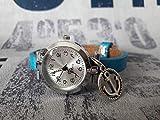 Wickelarmbanduhr Wickeluhr Armbanduhr Lederarmband Uhr Schmuck metallic blau hellblau silber maritim Anker Cabochon Anhänger Schiebeperle Geschenk Geschenkidee